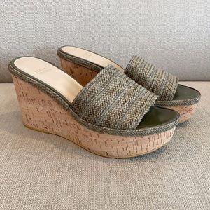 Stuart Weitzman Laniard Green Woven Cork Wedge Sandals